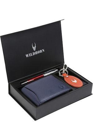 WildHorn Men Blue & Orange RFID Protected Genuine Leather Wallet & Pen Accessory Gift Set