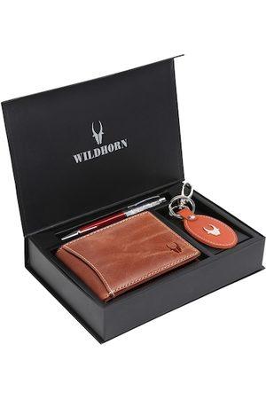 WildHorn Men Tan Brown & Orange RFID Protected Genuine Leather Wallet & Pen Accessory Gift Set