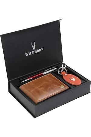 WildHorn Men Tan Brown & Orange RFID Protected Genuine Leather Accessory Gift Set