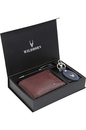 WildHorn Men Brown & Blue RFID Protected Genuine Leather Wallet & Pen Accessory Gift Set