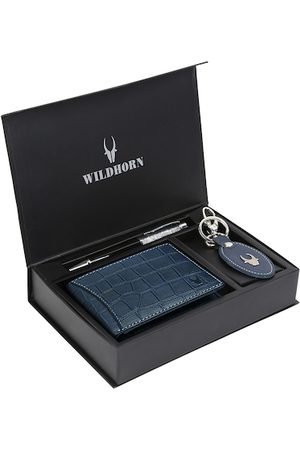 WildHorn Men Blue & Black RFID Protected Genuine Leather Wallet & Pen Accessory Gift Set