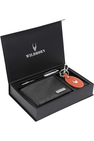 WildHorn Men Black & Red RFID Protected Genuine High Quality Leather Accessory Gift Set