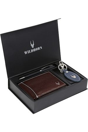 WildHorn Men Brown & Blue RFID Protected Genuine Leather Wallet & Pen Accessory Gift Set