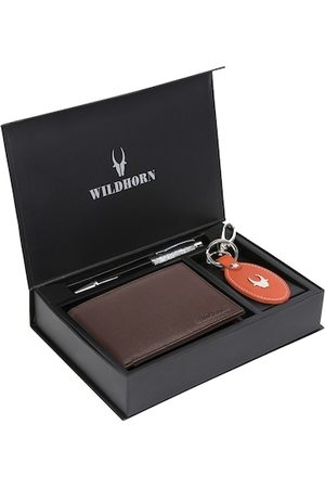 WildHorn Men Brown & Red RFID Protected Genuine High Quality Leather Accessory Gift Set