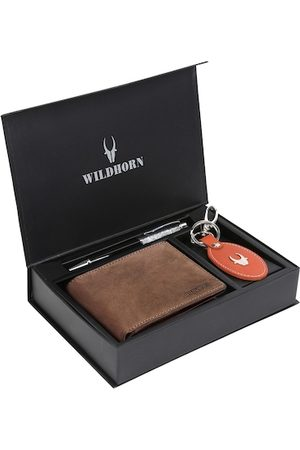 WildHorn Men Tan Brown & Red RFID Protected Genuine High Quality Leather Accessory Gift Set