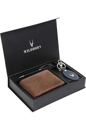 WildHorn Men Tan Brown & Blue RFID Protected Genuine Leather Accessory Gift Set