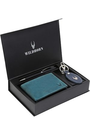 WildHorn Men Blue & Black RFID Protected Genuine High Quality Leather Accessory Gift Set
