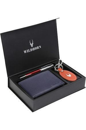 WildHorn Men Blue & Red RFID Protected Genuine High Quality Leather Accessory Gift Set