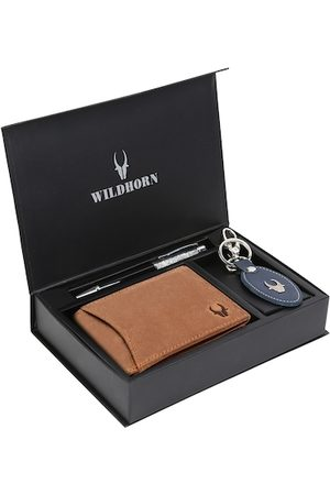 WildHorn Men Tan Brown & Blue RFID Protected Genuine High Quality Leather Accessory Gift Set