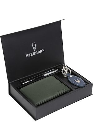 WildHorn Men Green & Blue RFID Protected Genuine High Quality Leather Accessory Gift Set
