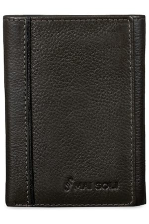 MAI SOLI Men Charcoal Solid Three Fold Wallet