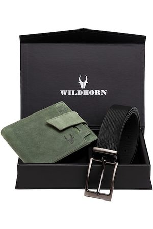 WildHorn Men Blue Textured RFID Protected Genuine Leather Wallet & Belt Accessory Gift Set