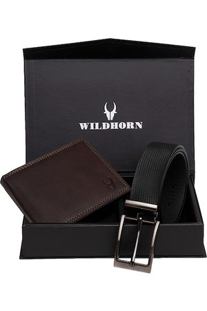 WildHorn Men Brown & Black RFID Protected Genuine Leather Accessory Gift Set
