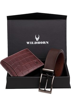 WildHorn Men Maroon RFID Protected Genuine Leather Accessory Gift Set