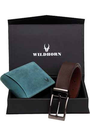 WildHorn Men Teal Blue & Brown RFID Protected Genuine Leather Accessory Gift Set