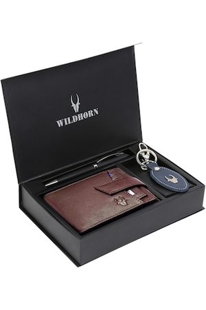 WildHorn Men Brown & Blue RFID Protected Genuine High Quality Leather Accessory Gift Set
