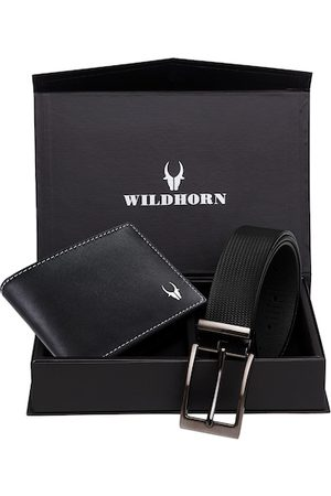 WildHorn Men Black RFID Protected Genuine Leather Accessory Gift Set