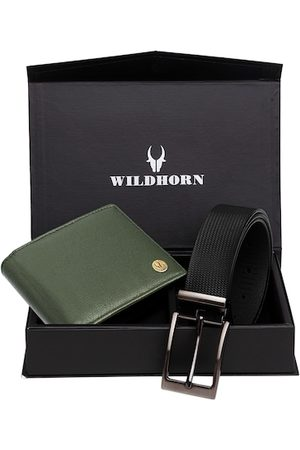 WildHorn Men Green RFID Protected Genuine Leather Wallet & Belt Accessory Gift Set