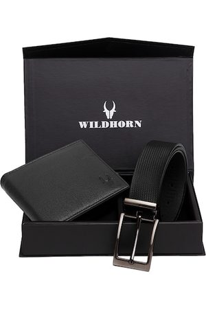 WildHorn Men Black Textured RFID Protected Genuine Leather Wallet & Belt Accessory Gift Set