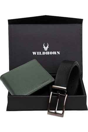 WildHorn Men Green & Black RFID Protected Genuine Leather Accessory Gift Set