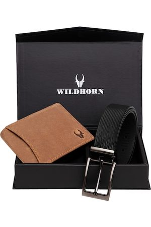 WildHorn Men Tan Brown & Black RFID Protected Genuine Leather Accessory Gift Set
