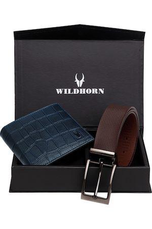 WildHorn Men Sets - Men Blue & Brown RFID Protected Genuine Leather Accessory Gift Set