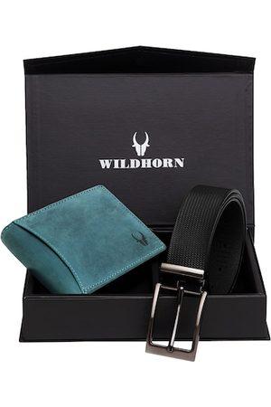 WildHorn Men Teal Blue & Black RFID Protected Genuine Leather Accessory Gift Set
