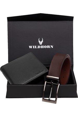 WildHorn Men Black & Brown RFID Protected Genuine Leather Accessory Gift Set