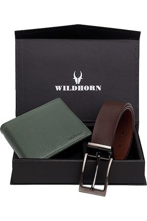 WildHorn Men Green & Brown RFID Protected Genuine Leather Accessory Gift Set