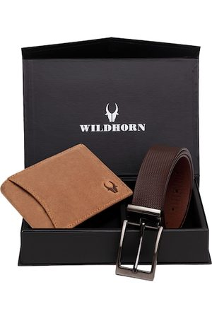 WildHorn Men Tan Brown RFID Protected Genuine Leather Accessory Gift Set