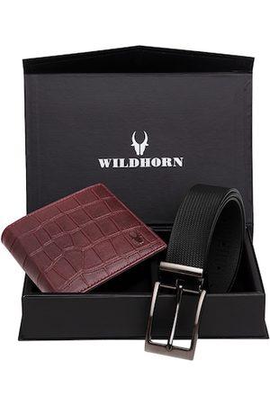 WildHorn Men Sets - Men Maroon & Black RFID Protected Genuine Leather Accessory Gift Set