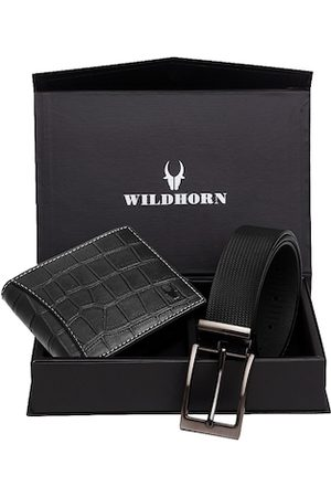 WildHorn Men Black RFID Protected Genuine Leather Wallet & Belt Accessory Gift Set