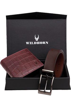 WildHorn Men Sets - Men Maroon & Brown RFID Protected Genuine Leather Accessory Gift Set