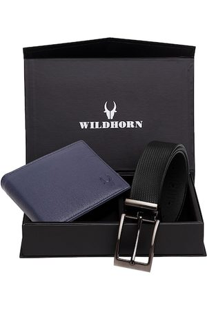 WildHorn Men Blue & Black Textured RFID Protected Genuine Leather Wallet & Belt Accessory Gift Set
