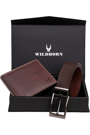 WildHorn Men Maroon & Brown RFID Protected Genuine Leather Accessory Gift Set