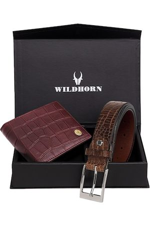 WildHorn Men Maroon & Brown Textured RFID Protected Genuine Leather Accessory Gift Set