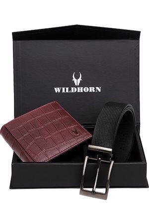 WildHorn Men Maroon & Black RFID Protected Genuine Leather Accessory Gift Set