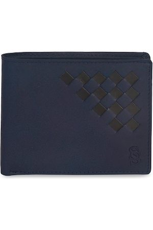 Second Skin Men Blue Woven Design Genuine Leather Two Fold Wallet