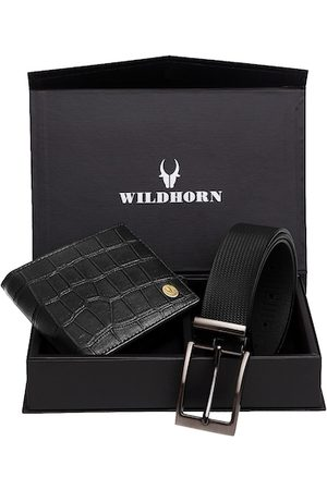 WildHorn Men Sets - Men Black RFID Protected Genuine Leather Accessory Gift Set