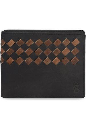 Second Skin Men Brown Woven Design Two Fold Leather Wallet