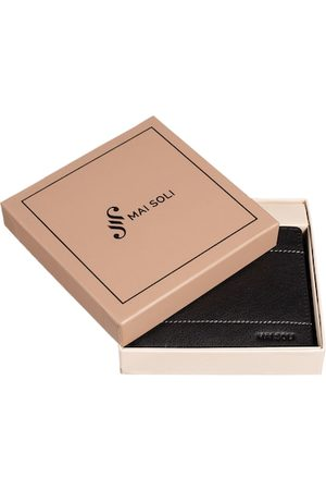 MAI SOLI Men Black Solid Two Fold Wallet