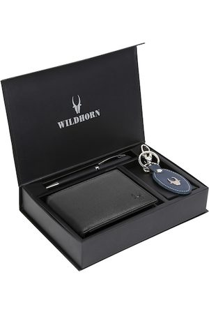 WildHorn Men Black & Blue RFID Protected Genuine High Quality Leather Accessory Gift Set