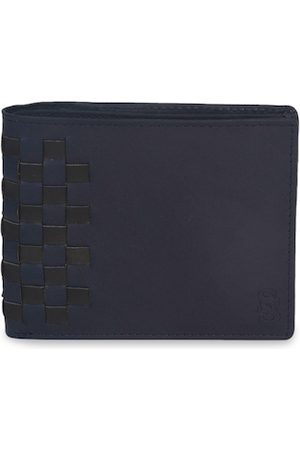 Second Skin Men Blue & Black Woven Design Genuine Leather Two Fold Wallet