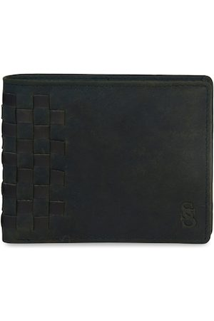 Second Skin Men Olive Green & Black Woven Design Leather Two Fold Wallet
