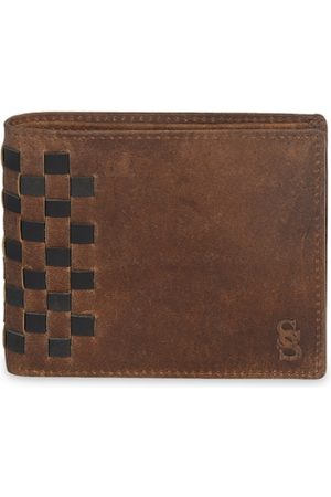 Second Skin Men Tan Brown Woven Design Genuine Leather Two Fold Wallet