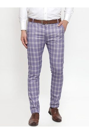 JAINISH Men Blue & Off-White Smart Slim Fit Checked Formal Trousers