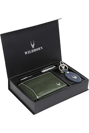WildHorn Men Green & Blue RFID Protected Genuine Leather Wallet & Pen Accessory Gift Set
