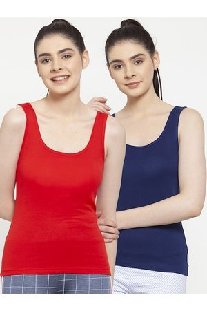 Friskers Women Pack Of 2 Red & Blue Solid Tank Tops