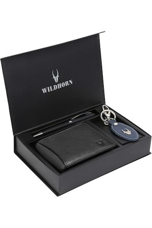 WildHorn Men Black & Blue RFID Protected Genuine Leather Wallet & Pen Accessory Gift Set