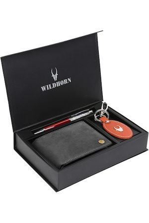 WildHorn Men Charcoal Grey & Orange RFID Protected Genuine Leather Accessory Gift Set
